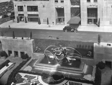 Rockefeller Center Fountain and Sunken Garden 1934