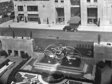 Rockefeller Center Fountain and Sunken Garden 1934